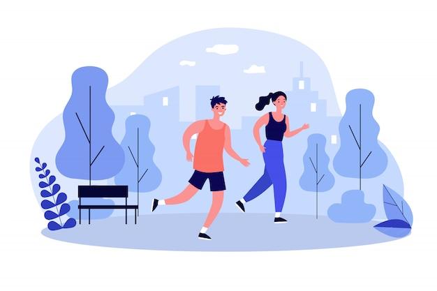 Glückliche jogger, die an der flachen vektorillustration des parks laufen