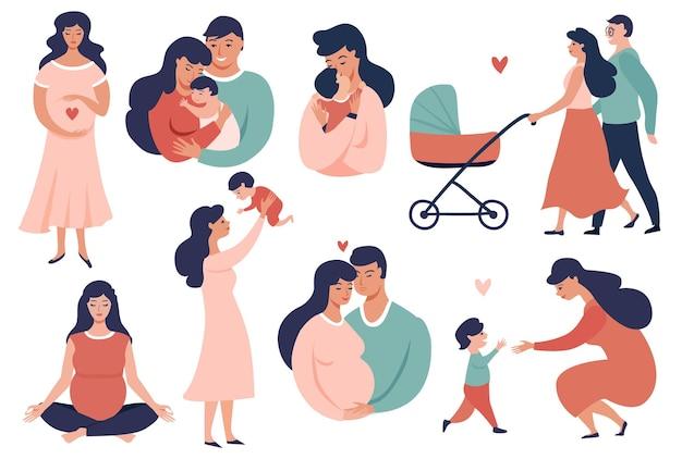 Glückliche junge familie stellt schwangerschafts- und mutterschaftskonzeptillustration ein