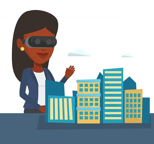 Glückliche junge frau, die virtual-reality-brille trägt