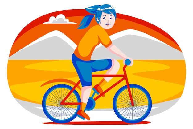 Glückliche junge frau mit fahrrad mit blick auf die berge.