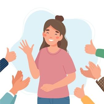 Glückliche junge frau, umgeben von händen mit daumen hoch und applaudierend