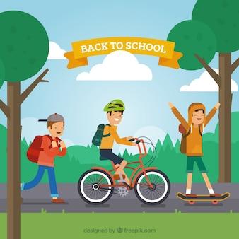 Glückliche junge freunde gehen zur schule