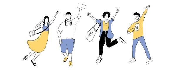 Glückliche junge leute, die lächeln und springen vier winkende studenten einfache linie doodle-vektorzeichen
