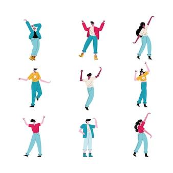 Glückliche junge leute, die neun avatarcharakterillustration tanzen