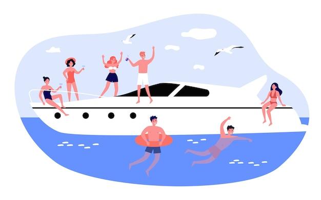 Glückliche junge leute, die yachtkreuzfahrt genießen