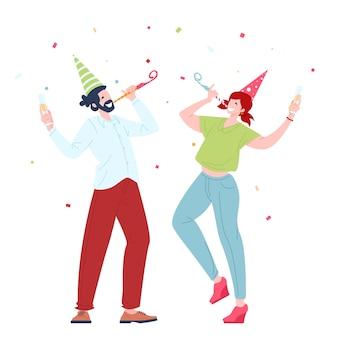 Glückliche junge leute feiern im flachen design