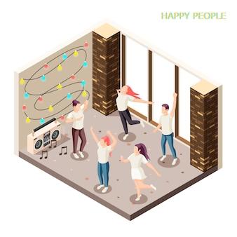 Glückliche junge leute im freizeitkleidungstanzen innen mit isometrischer zusammensetzung der discolichter und -sprecher