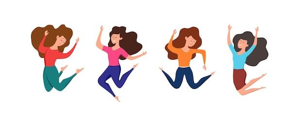 Glückliche junge mädchen, die in verschiedene posen-vektorillustration springen. cartoon-konzept von fröhlich lachenden frauen mit erhobenen händen. flaches positives lifestyle-design für party, sport, tanz, glück, erfolg