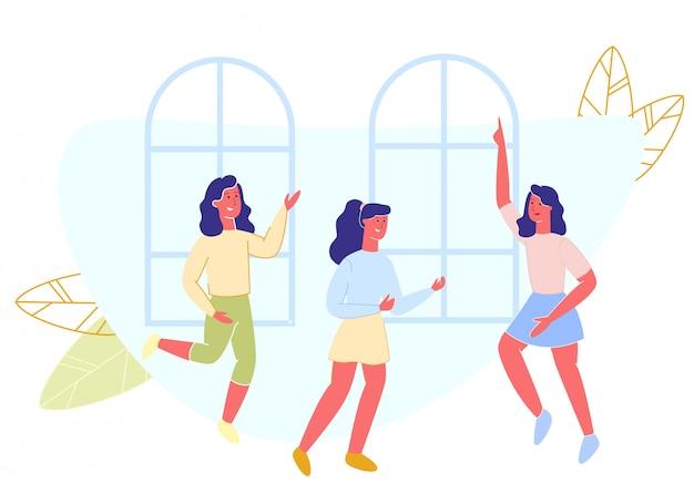 Glückliche junge mädchen tanzen im haus,