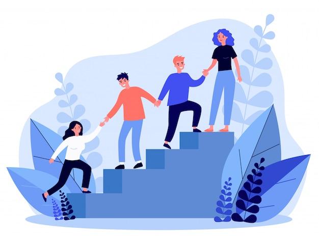 Glückliche junge mitarbeiter, die sich gegenseitig unterstützen und helfen