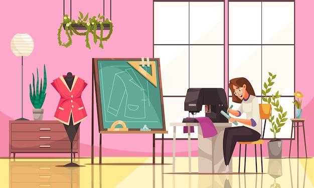 Glückliche junge näherin, die nähmaschine in der modernen studiokarikaturillustration verwendet