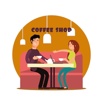 Glückliche junge paare, die in der kaffeestubeillustration arbeiten