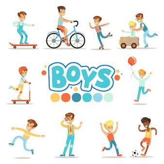 Glückliche jungen und ihr erwartetes klassisches verhalten mit aktiven spielen sport-praktiken satz traditioneller männlicher kinderrollenillustrationen