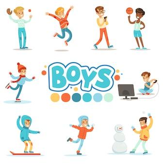 Glückliche jungen und ihr erwartetes normales verhalten mit aktiven spiel-sport-praktiken satz traditioneller männlicher kinderrollenillustrationen