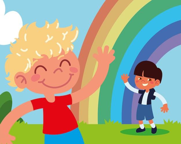 Glückliche jungs mit regenbogen