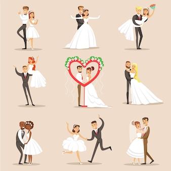 Glückliche jungvermählten auf dem hochzeitsfeier-satz von szenen