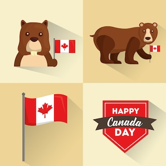 Glückliche kanada-tagesflaggen-biber- und -bärenfahnen