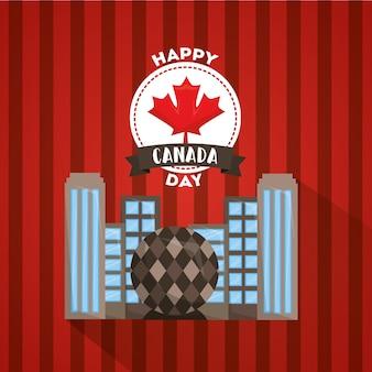 Glückliche kanada-tagesgrußkartenfeier vancouver-stadt