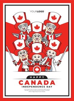 Glückliche kanada-unabhängigkeitstagplakatschablone mit niedlicher zeichentrickfigur