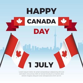 Glückliche kanadische tagesstadt und flaggen