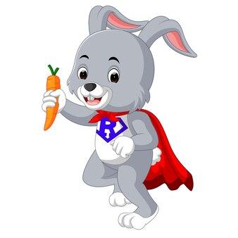 Glückliche kaninchenkarikatur, die karotte hält
