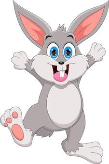 Glückliche kaninchenkarikatur lokalisiert auf weißem hintergrund
