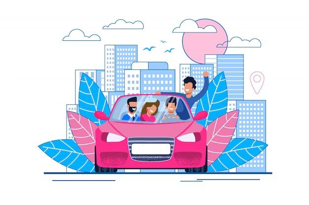 Glückliche karikatur-lächelnde freunde, die mit dem auto reisen
