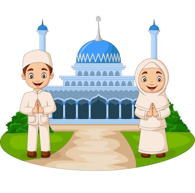 Glückliche karikatur moslemkinder vor moschee