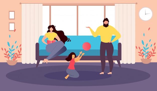 Glückliche karikatur-vektor-illustration der familien-zu hause
