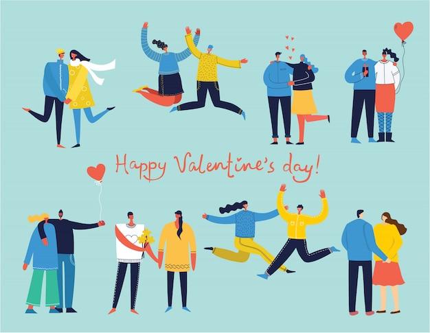 Glückliche karikaturpaare in der liebe. glückliche liebhaber am datum, umarmen, springen, tanzen. sammlung von paarschattenbildikonen.