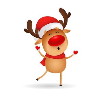 Glückliche karikaturrotwild, die frohe weihnachten wünschen