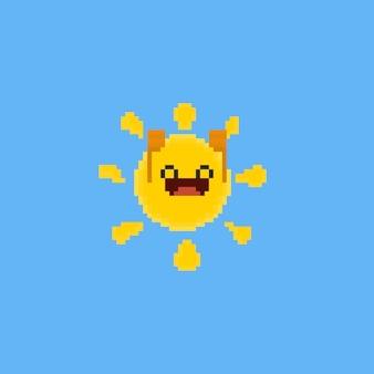 Glückliche karikatursonne des pixels