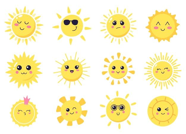 Glückliche karikatursonne. hand gezeichnete niedliche lächelnde sonnen, sonnige glückliche zeichen, leuchtende helle sonneillustrationssymbolsatz gesetzt. sonne und sonnenlicht, sonnenschein lächeln süß, sommer hell