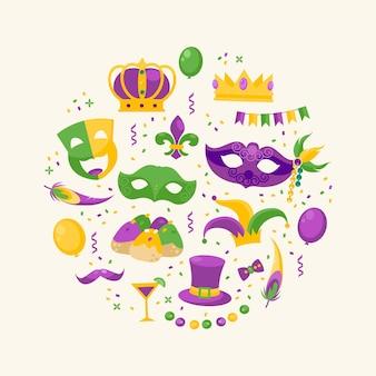 Glückliche karnevalselemente