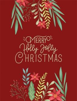 Glückliche karte der frohen weihnachten mit blumendekoration und kalligraphie