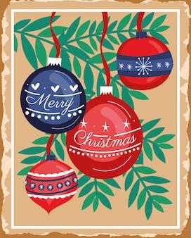 Glückliche karte der frohen weihnachten mit dem blatt- und ballhängen