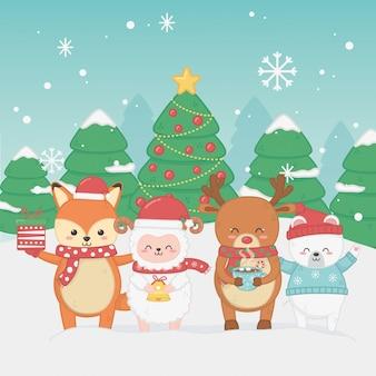 Glückliche karte der frohen weihnachten mit gruppe tieren