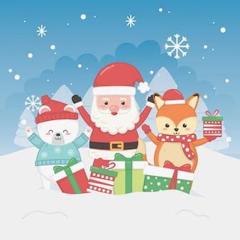 Glückliche karte der frohen weihnachten mit weihnachtsmann und tieren