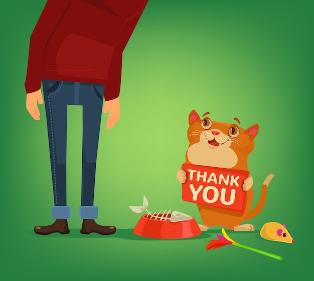Glückliche katze charakter halten platte mit dankeswörtern an besitzer cartoon illustration