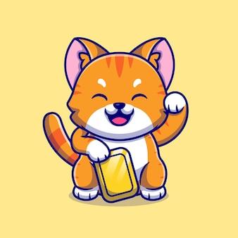 Glückliche katze, die gold-cartoon-illustration hält.