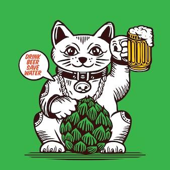 Glückliche katze hält glas bier und hopfen maneki neko