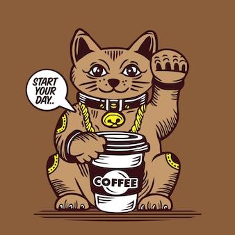 Glückliche katze kaffee zu gehen tasse maneki neko