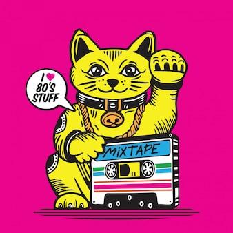 Glückliche katze kassette mis tape maneki neko