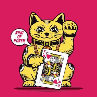 Glückliche katze könig poker karte maneki neko