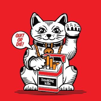 Glückliche katze zigarettenschachtel rauchen tötet maneki neko