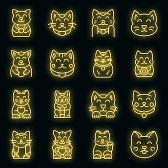 Glückliche katzenikonen eingestellt. umrisse von glückskatzenvektorsymbolen neonfarbe auf schwarz
