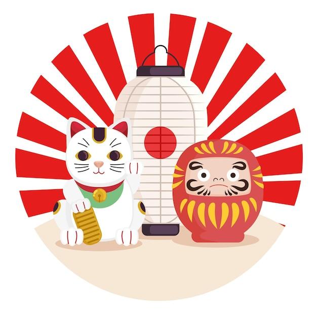 Glückliche katzenlaterne und daruma