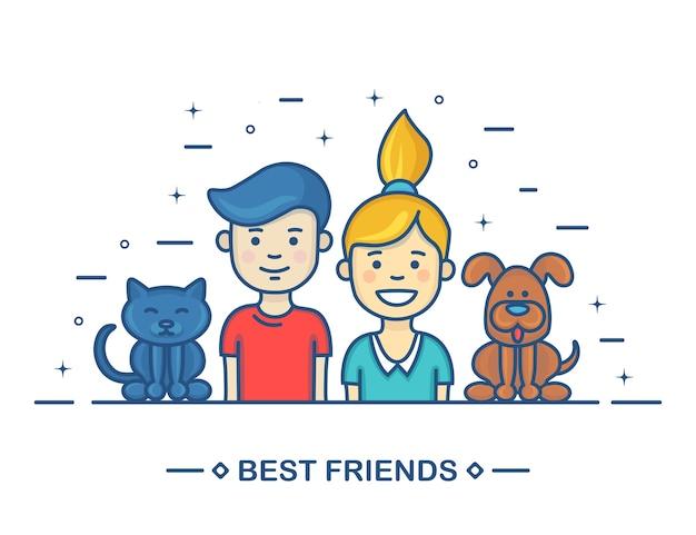 Glückliche kinder. beste freunde in der reihe cartoon. bruder, schwester, katze und hund auf weißem hintergrund.