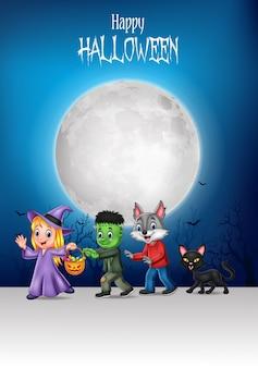Glückliche kinder der karikatur mit halloween-hintergrund