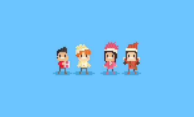 Glückliche kinder des pixels mit winterkostüm